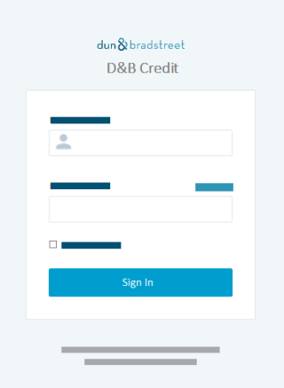the website https credit dnb com the login screen displays